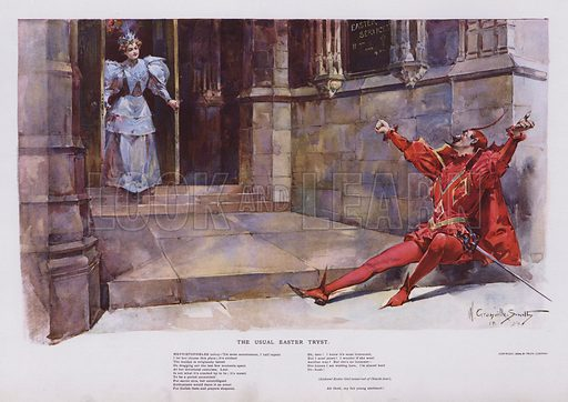 The Usual Easter Tryst: Mephistopheles waiting for a girl to leave a church