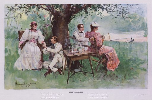 Love's Idleness: two couples releaxing in the shade beneath a tree in a garden. Illustration from Drawings by W Granville-Smith and Others (E R Herrick, New York, 1898).