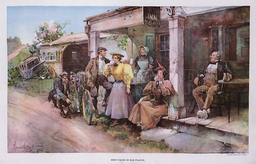 New Faces in Old Places: a group of cyclists taking refreshment at a roadside inn. Illustration from Drawings by W Granville-Smith and Others (E R Herrick, New York, 1898).