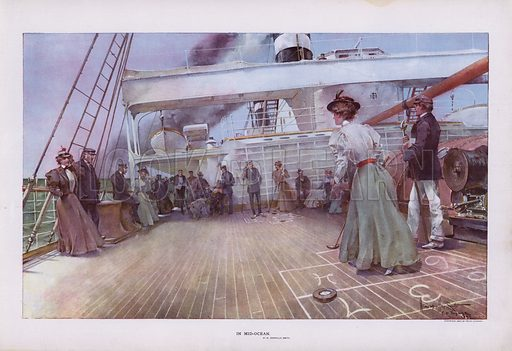 In Mid-Ocean: passengers enjoying a game of shuffleboard on board a ship. Illustration from Drawings by W Granville-Smith and Others (E R Herrick, New York, 1898).