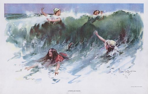 A Popular Wave: women playing in the waves at the seaside. Illustration from Drawings by W Granville-Smith and Others (E R Herrick, New York, 1898).