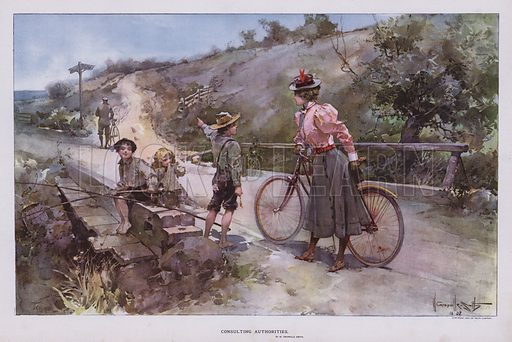 Consulting Authorities: woman out for a cycle ride asking a group of children for directions. Illustration from Drawings by W Granville-Smith and Others (E R Herrick, New York, 1898).