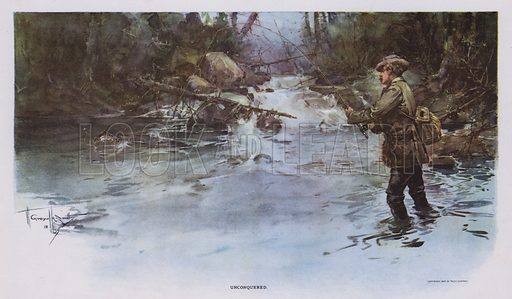 Unconquered: angling scene. Illustration from Drawings by W Granville-Smith and Others (E R Herrick, New York, 1898).
