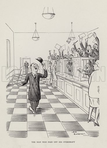 The Man Who Paid off His Overdraft. Illustration from Brought Forward, a Further Collection of Drawings by HM Bateman (Methuen, London, 1931).