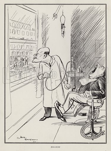 Jealousy: scene at the dentist's. Illustration from Brought Forward, a Further Collection of Drawings by H M Bateman (Methuen, London, 1931).
