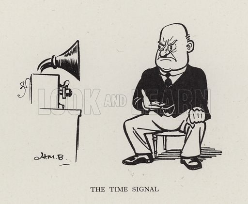 The Time Signal. Illustration from Brought Forward, a Further Collection of Drawings by H M Bateman (Methuen, London, 1931).
