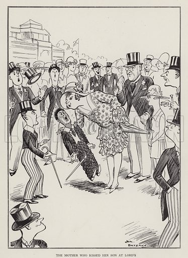 The Mother Who Kissed Her Son at Lord's. Illustration from Brought Forward, a Further Collection of Drawings by H M Bateman (Methuen, London, 1931).
