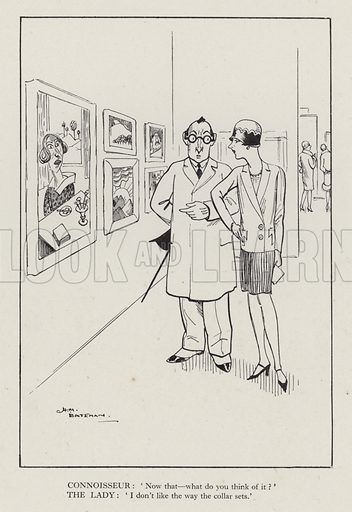 Woman and art connoisseur in a gallery. Illustration from Brought Forward, a Further Collection of Drawings by H M Bateman (Methuen, London, 1931).