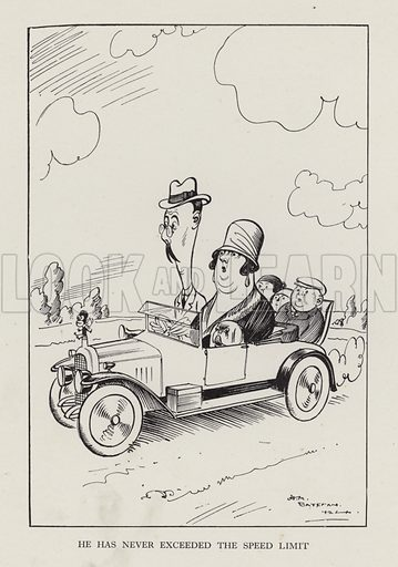 He Has Never Exceeded the Speed Limit. Illustration from Brought Forward, a Further Collection of Drawings by HM Bateman (Methuen, London, 1931).