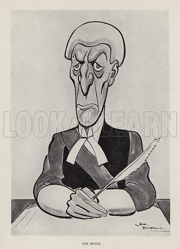 The Bench: caricature of a judge. Illustration from Brought Forward, a Further Collection of Drawings by H M Bateman (Methuen, London, 1931).
