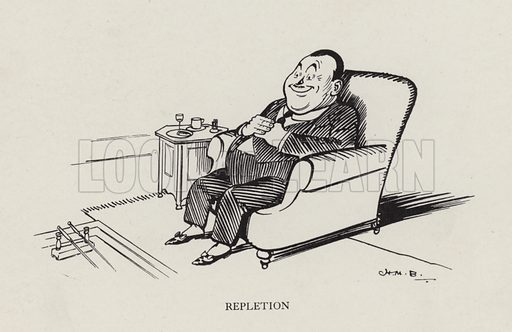 Repletion. Illustration from Brought Forward, a Further Collection of Drawings by HM Bateman (Methuen, London, 1931).