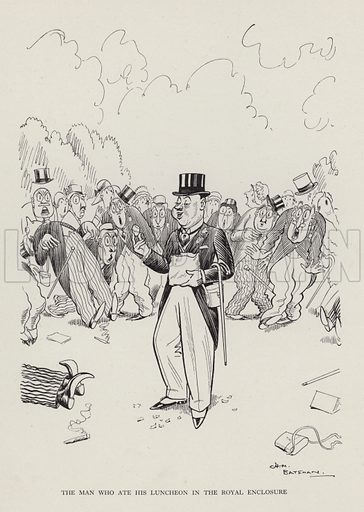 The Man Who Ate His Luncheon in the Royal Enclosure. Illustration from Brought Forward, a Further Collection of Drawings by H M Bateman (Methuen, London, 1931).