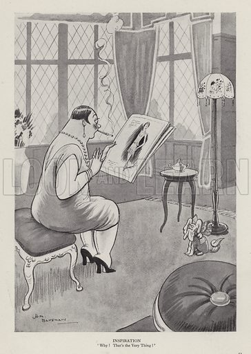 Inspiration. Illustration from Brought Forward, a Further Collection of Drawings by H M Bateman (Methuen, London, 1931).