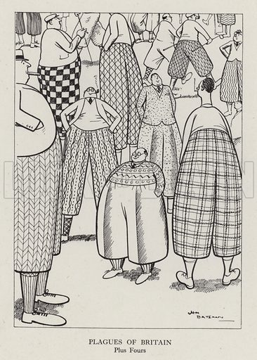 Plagues of Britain: Plus Fours. Illustration from Brought Forward, a Further Collection of Drawings by H M Bateman (Methuen, London, 1931).