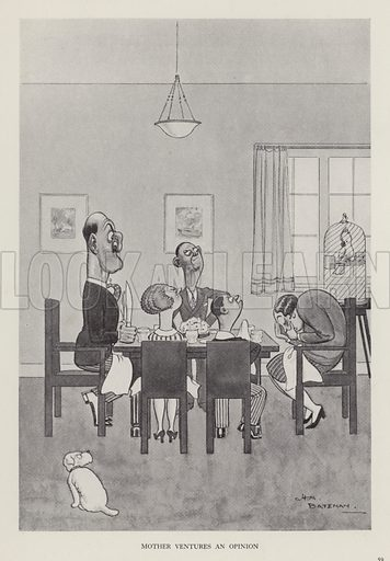 Mother Ventures an Opinion. Illustration from Brought Forward, a Further Collection of Drawings by HM Bateman (Methuen, London, 1931).