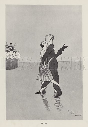 As One: couple entwined on a dancefloor. Illustration from Brought Forward, a Further Collection of Drawings by H M Bateman (Methuen, London, 1931).