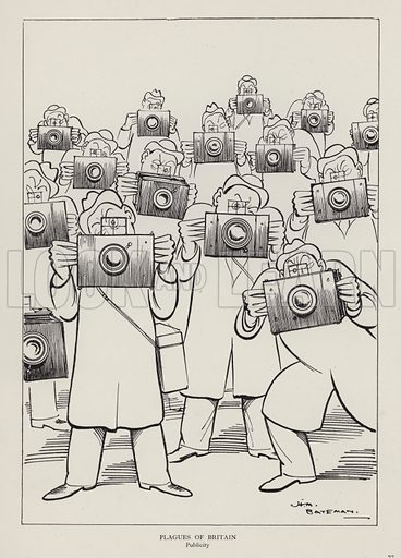 Plagues of Britain: Publicity. Illustration from Brought Forward, a Further Collection of Drawings by H M Bateman (Methuen, London, 1931).