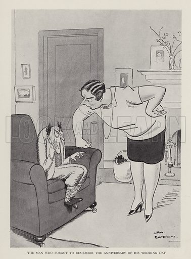 The Man Who Forgot to Remember the Anniversary of His Wedding Day. Illustration from Brought Forward, a Further Collection of Drawings by H M Bateman (Methuen, London, 1931).