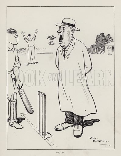"""Out!"": cricket umpire losing his false teeth. Illustration from Brought Forward, a Further Collection of Drawings by H M Bateman (Methuen, London, 1931)."