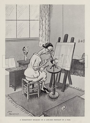 A Miniaturist Engaged on a Life-Size Portrait of a Flea. Illustration from Brought Forward, a Further Collection of Drawings by H M Bateman (Methuen, London, 1931).