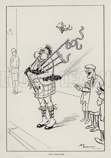 The Puncture: set of bagpipes bursting. Illustration from Brought Forward, a Further Collection of Drawings by H M Bateman (Methuen, London, 1931).