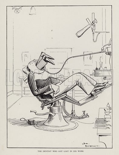 The Dentist Who Got Lost in His Work. Illustration from Brought Forward, a Further Collection of Drawings by H M Bateman (Methuen, London, 1931).