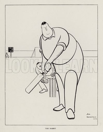The Rabbit (cricketing term for an incompetent lower order batsman). Illustration from Brought Forward, a Further Collection of Drawings by H M Bateman (Methuen, London, 1931).