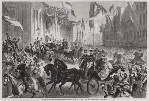 Crowds welcoming Kaiser Wilhelm I of Germany at Berlin Station, 17 March 1871. Illustration from Illustrierte Zeitung (Leipzig, 8 April 1871).