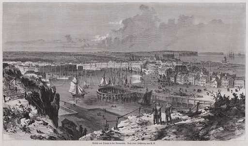 View of the port of Dieppe, Normandy, France. Illustration from Illustrierte Zeitung (Leipzig, 15 April 1871).