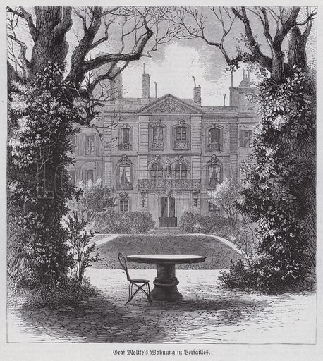 Residence of Field Marshal Helmuth von Moltke, victorious commander of the Prussian armies in the Franco-Prussian War, Versailles, France. Illustration from Illustrierte Zeitung (Leipzig, 22 April 1871).