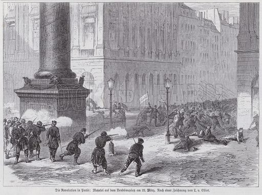 French National Guard soldiers firing on demonstrators on the Place Vendome, Paris Commune, 22 March 1871. Illustration from Illustrierte Zeitung (Leipzig, 6 May 1871).
