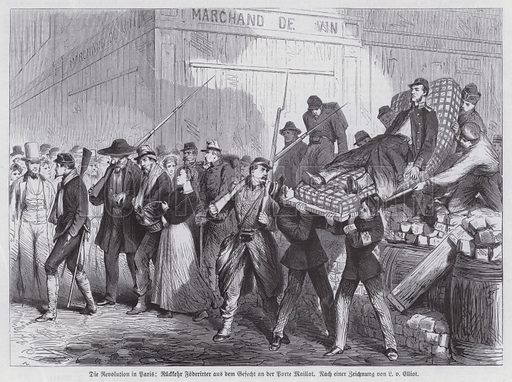 Return of casualties wounded in fighting at the Porte Maillot, Paris Commune, 1871. Illustration from Illustrierte Zeitung (Leipzig, 6 May 1871).