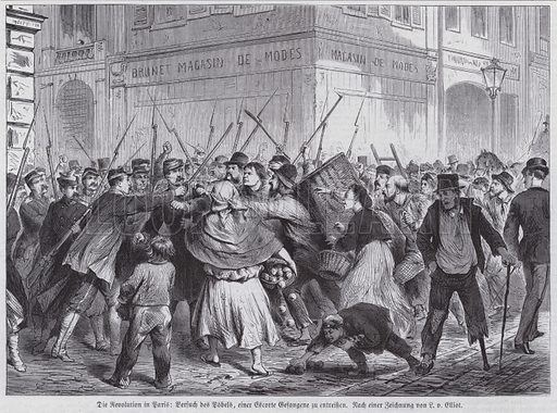 Attempt by a mob to free a prisoner being escorted under guard, Paris Commune, 1871. Illustration from Illustrierte Zeitung (Leipzig, 13 May 1871).