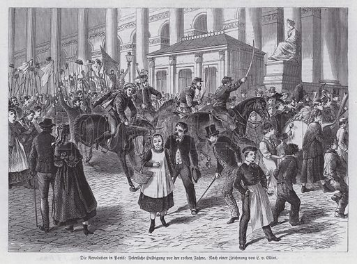 Procession carrying red flags, Paris Commune, 1871. Illustration from Illustrierte Zeitung (Leipzig, 13 May 1871).