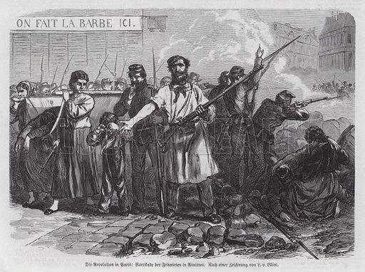 Communards manning a barricade at Asnieres, Paris Commune, 1871. Illustration from Illustrierte Zeitung (Leipzig, 3 June 1871).