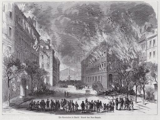 Fires in the Rue Royale, Paris Commune, 1871. Illustration from Illustrierte Zeitung (Leipzig, 17 June 1871).
