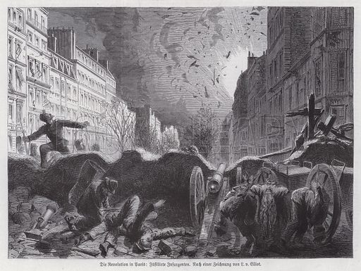 Barricade under fire from government troops, Paris Commune, 1871. Illustration from Illustrierte Zeitung (Leipzig, 17 June 1871).