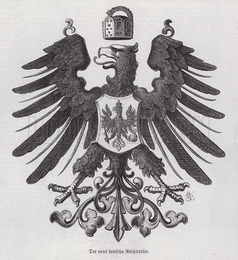 Imperial eagle, new emblem of Germany. Illustration from Illustrierte Zeitung (Leipzig, 17 June 1871).