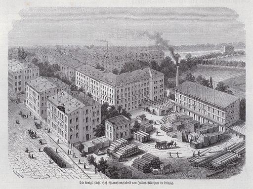 Piano factory of Julius Bluethner, Leipzig, Germany. Illustration from Illustrierte Zeitung (Leipzig, 17 June 1871).