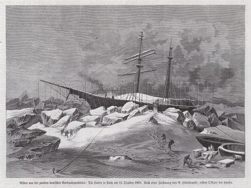 Supply ship Hansa trapped by pack ice, second German North Polar Expedition, 19 October 1869. Illustration from Illustrierte Zeitung (Leipzig, 14 January 1871).
