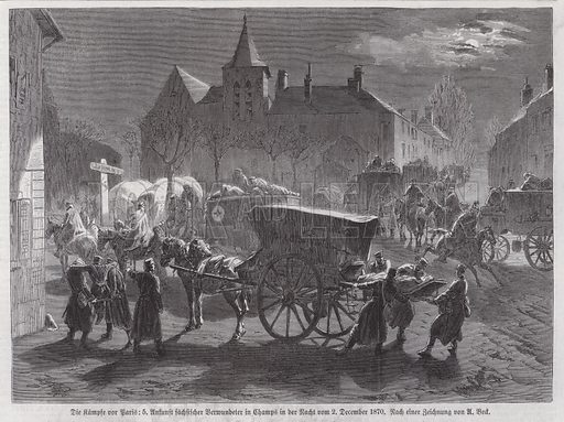 Arrival of Saxon soldiers wounded in the battles outside Paris, Franco-Prussian War, 2 December 1870. Illustration from Illustrierte Zeitung (Leipzig, 14 January 1871).