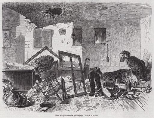 German artist and war reporter Leo von Elliot's sleeping quarters in a damaged building in Thionville, France, Franco-Prussian War, 1870. Illustration from Illustrierte Zeitung (Leipzig, 14 January 1871).