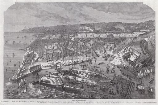 Bird's eye view of Le Havre, France. Illustration from Illustrierte Zeitung (Leipzig, 21 January 1871).