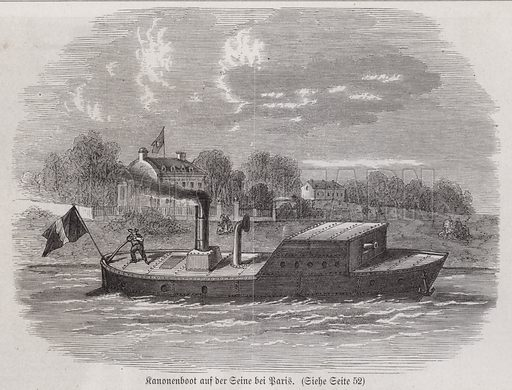Gunboat on the River Seine during the Siege of Paris, Franco-Prussian War, 1870-1871. Illustration from Illustrierte Zeitung (Leipzig, 21 January 1871).