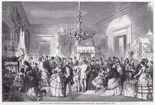 Ladies' bazaar in the Royal Palace of Hanover, Saxony, to raise money for wouned and sick soldiers from the Franco-Prussian War, 1870–1871. Illustration from Illustrierte Zeitung (Leipzig, 28 January 1871).