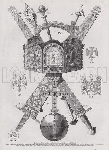 Imperial crown jewels of Germany. Illustration from Illustrierte Zeitung (Leipzig, 18 February1871).