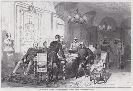 Prussian army commanders holding a council of war in Versailles, Franco-Prussian War, 6 December 1870. Illustration from Illustrierte Zeitung (Leipzig, 25 February 1871).