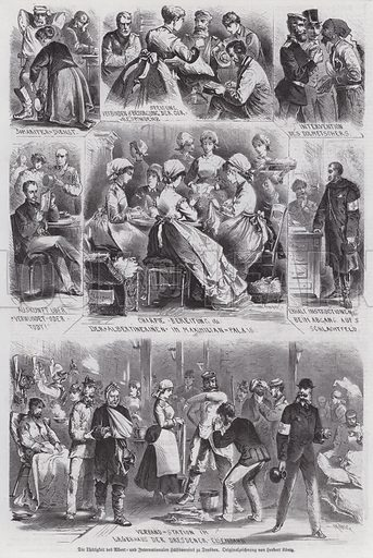 Prussian soldiers wounded in the Franco-Prussian War receiving treatment from the Albertverein in Dresden. Illustration from Illustrierte Zeitung (Leipzig, 25 February 1871).