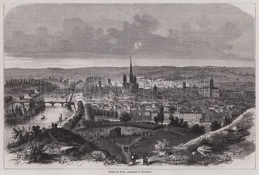 View of Rouen, Normandy, France. Illustration from Illustrierte Zeitung (Leipzig, 11 March 1871).