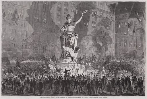 Peace celebrations before the statue of Germania in the market square of Leipzig, Germany, on the evening of 5 March 1870. Illustration from Illustrierte Zeitung (Leipzig, 18 March 1871).